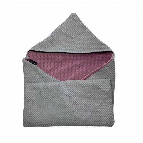 Wikkeldoek wafel grijs - minky lila/paars 90x90