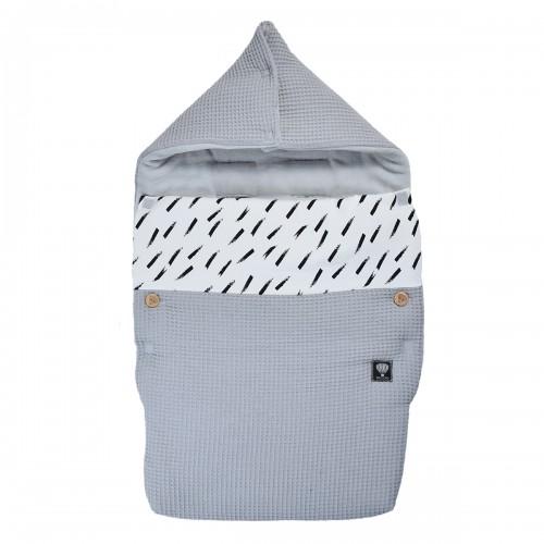 Winter voetenzak wafel grijs - stripes