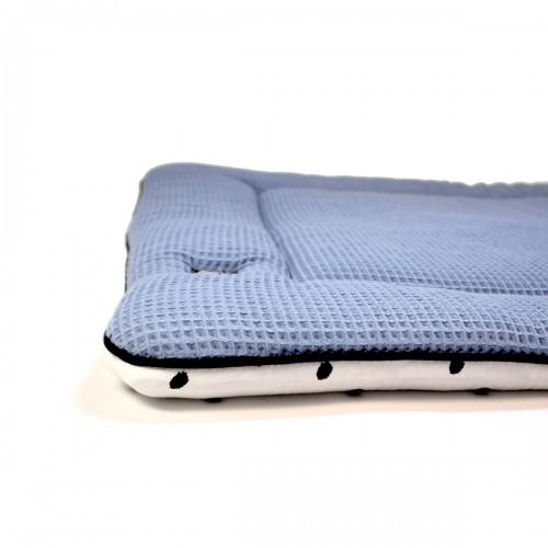 SAMPLE Boxkleed wafel jeansblauw - little dots 90 x 95